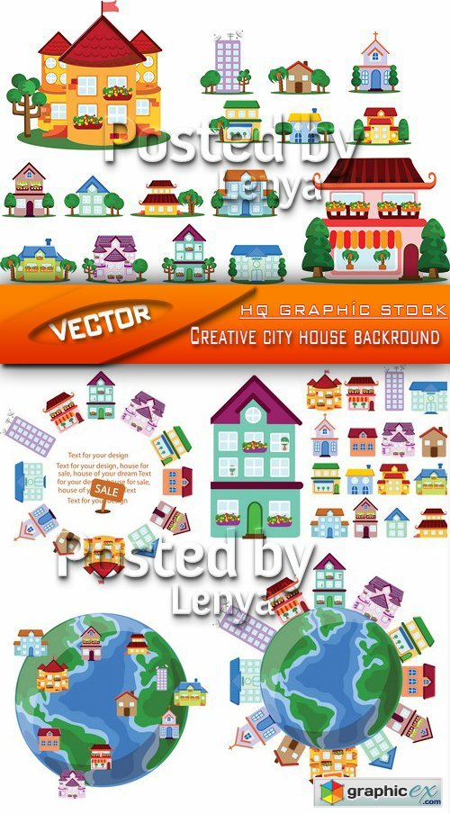 Stock Vector - Creative city house backround