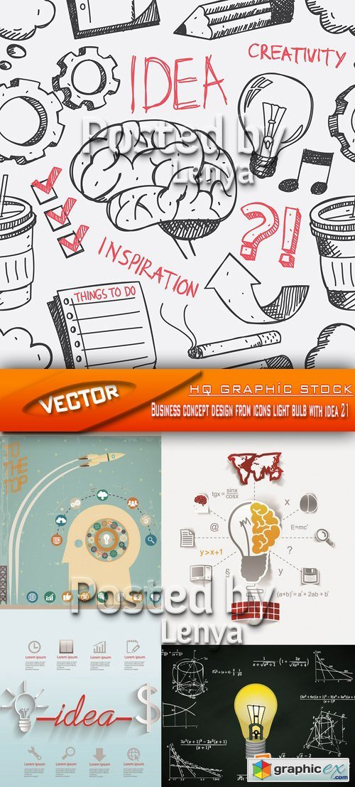 Stock Vector - Business concept design from icons light bulb with idea 21
