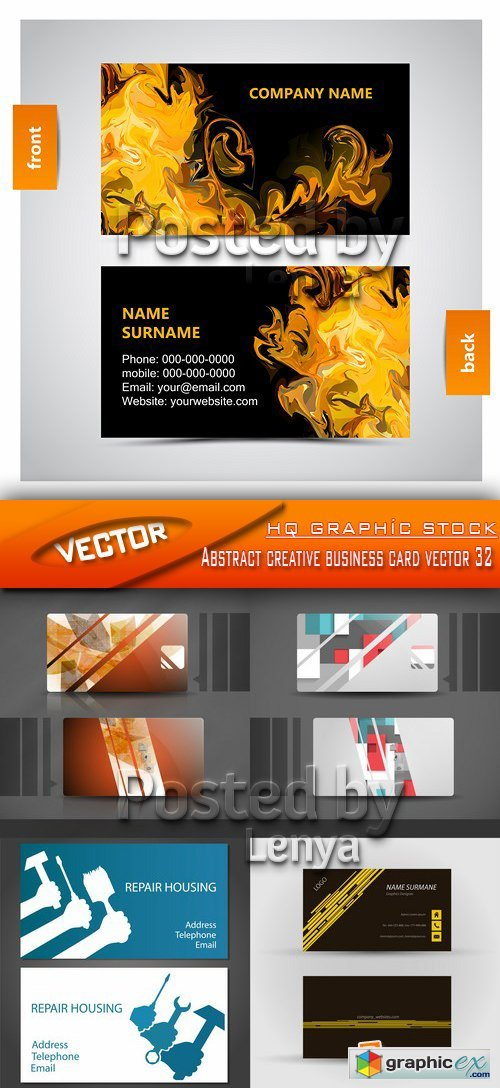 Stock Vector - Abstract creative business card vector 32
