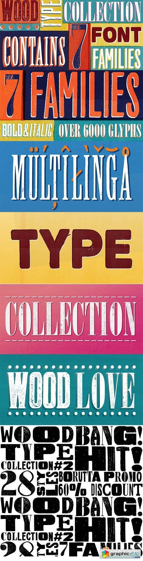 Wood Type Collection Font Family - 39 Font $390