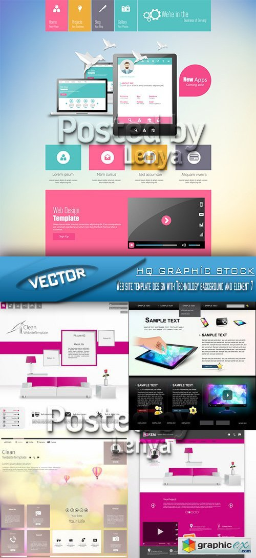 Stock Vector - Web site template design with Technology background and element 07