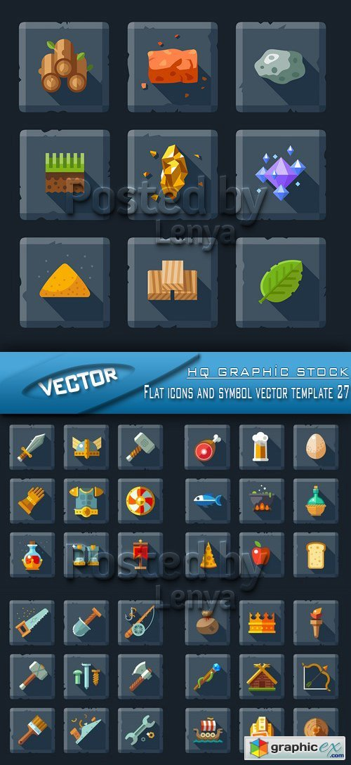 Flat icons and symbol vector template 27