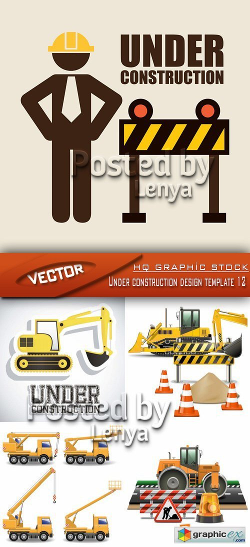 Stock Vector - Under construction design template 12