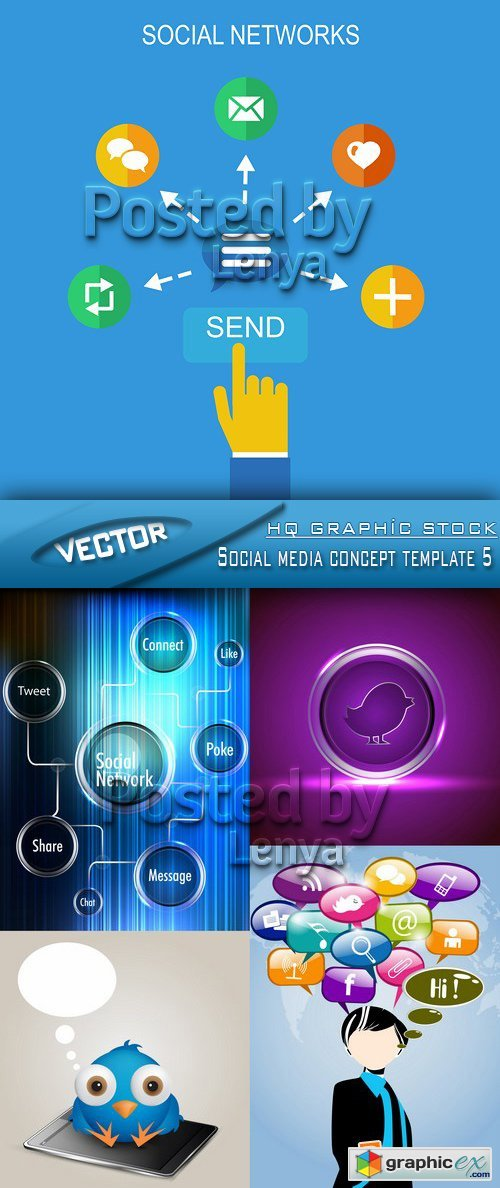 Stock Vector - Social media concept template 5
