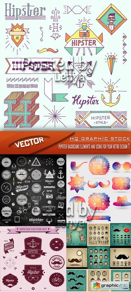 Stock Vector - Hipster backround elements and icons for your retro design 7