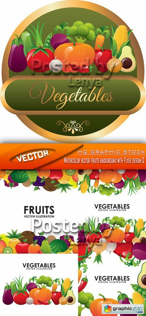 Stock Vector - Watercolor vector fruits background with Flyer design 2