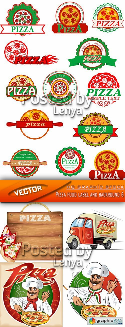 Stock Vector - Pizza food label and backround 6