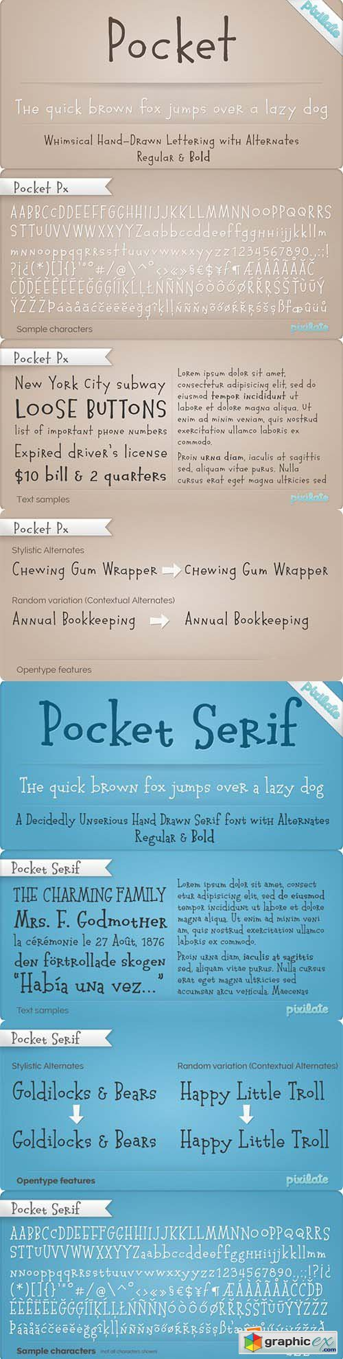 Pocket Px and Pocket Px Serif Font Family - 4 Font $72