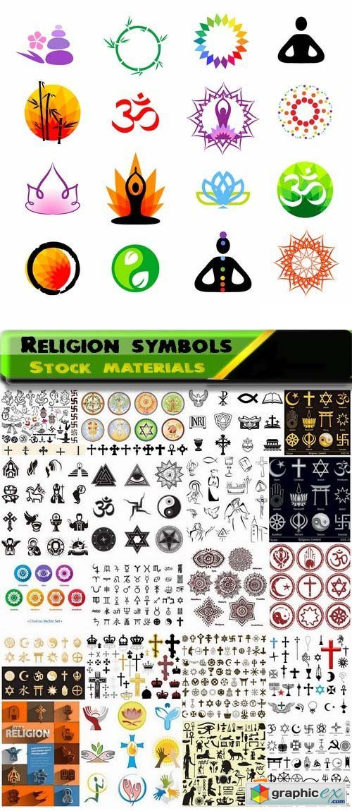 Religion symbols and icons 25xEPS