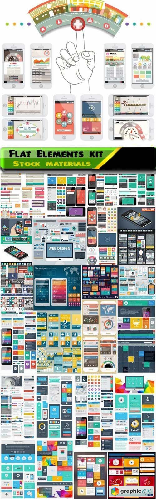 Flat Elements kit for web design 25xEPS