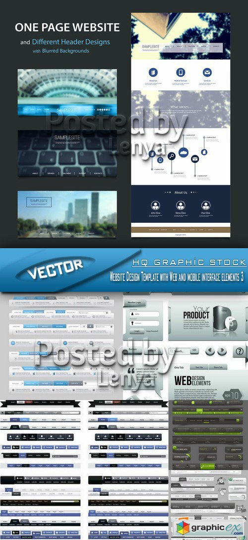 Stock Vector - Website Design Template with Web and mobile interface elements 3