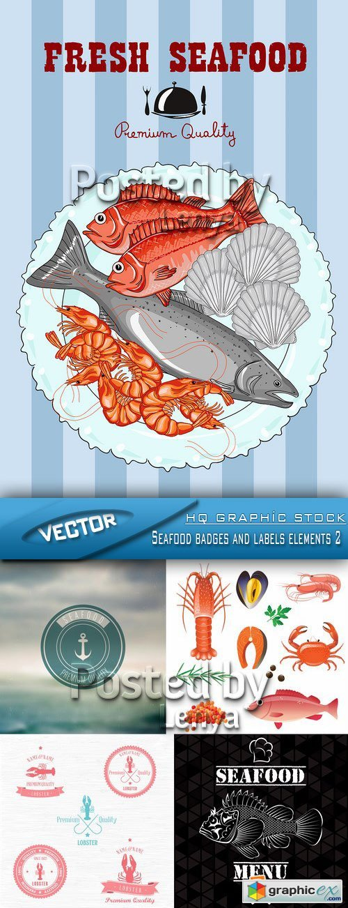 Stock Vector - Seafood badges and labels elements 2