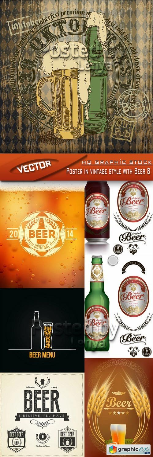 Stock Vector - Poster in vintage style with Beer 8