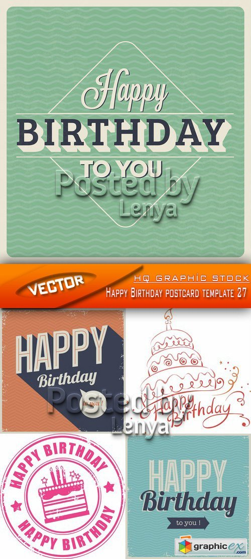 Stock Vector - Happy Birthday postcard template 27