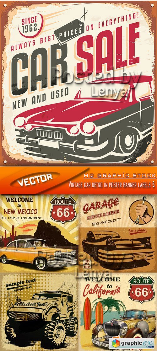 Stock Vector - Vintage car retro in poster banner labels 5