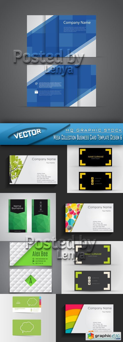 Stock Vector - Mega Collection Business Card Template Design 6