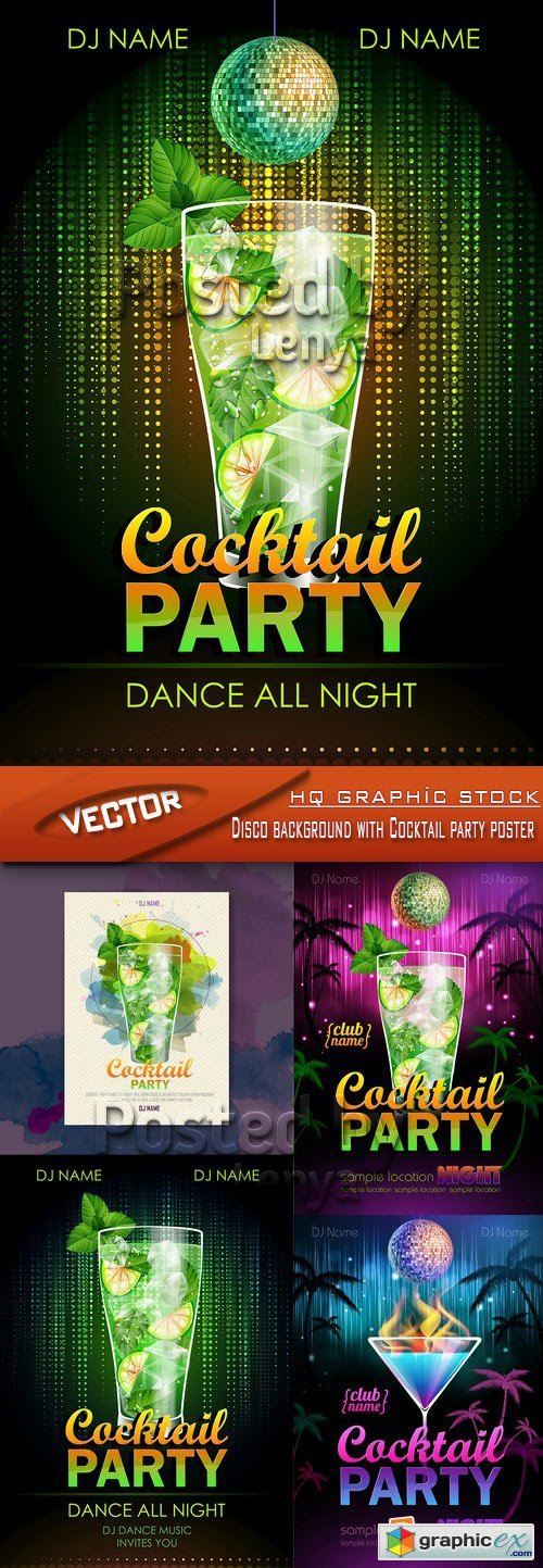 Stock Vector - Disco background with Cocktail party poster