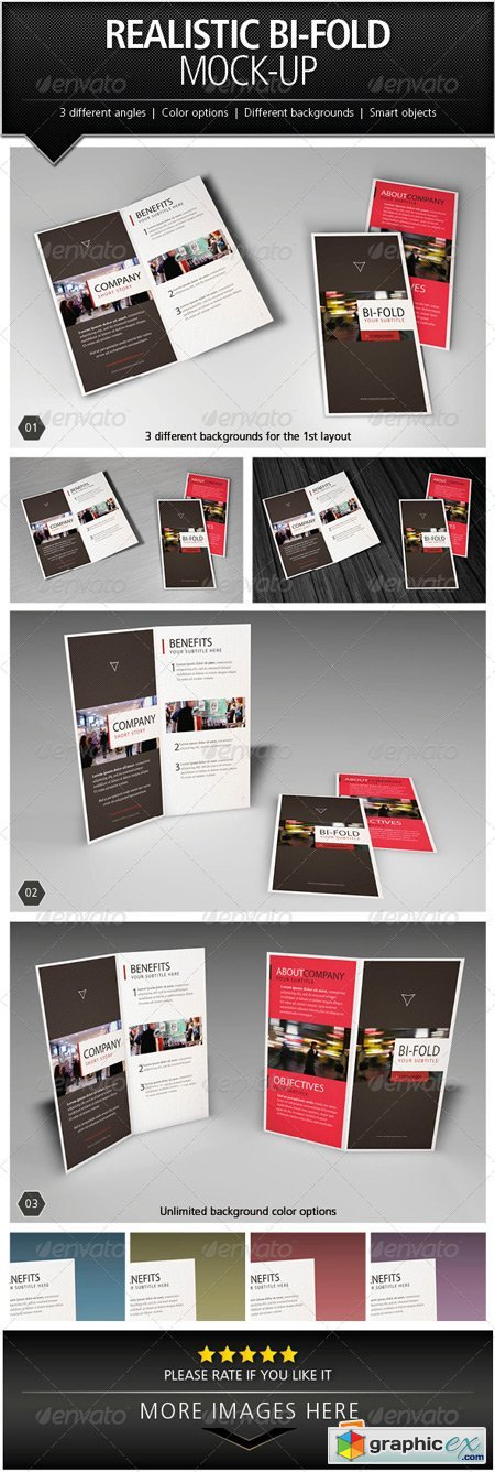 Realistic Bi-Fold Brochure Mock-Up 5046500