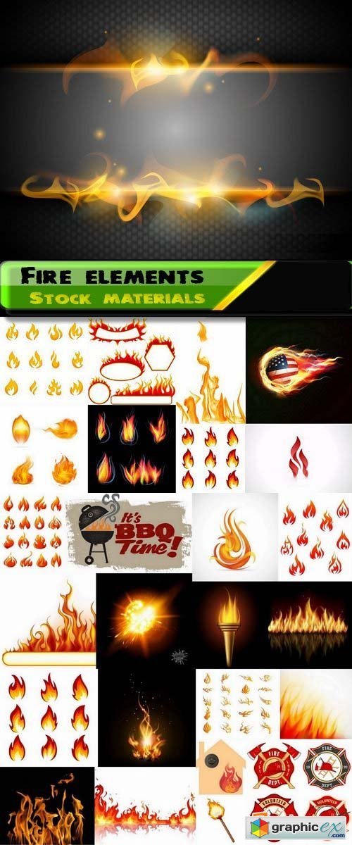 Fire elements in the vector 25xEPS