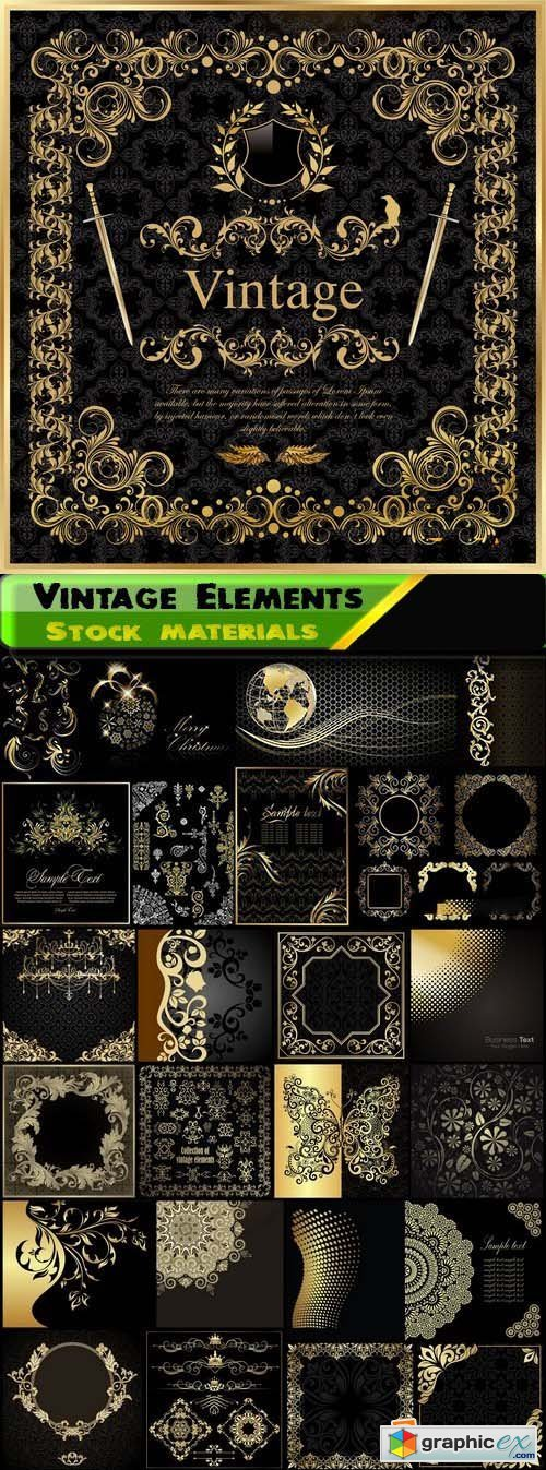 Abstract backgrounds with gold design element on black 25xEPS
