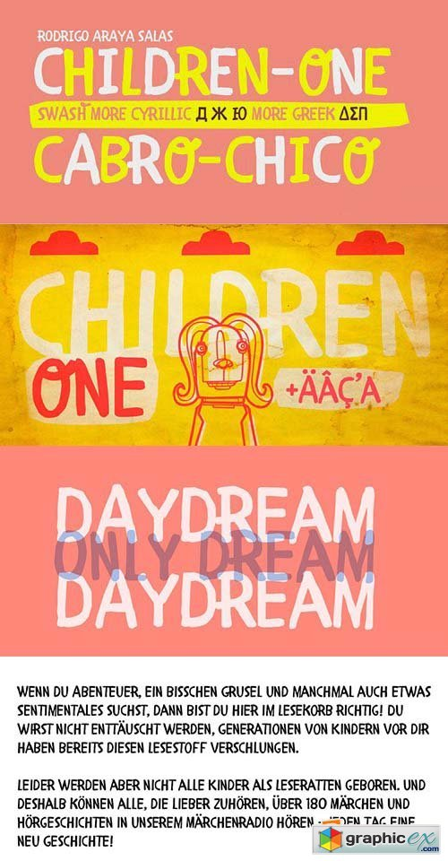 Children One Font - 1 Font $50