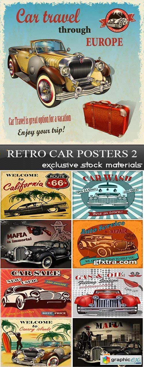 Retro Car Posters 2, 25xEPS