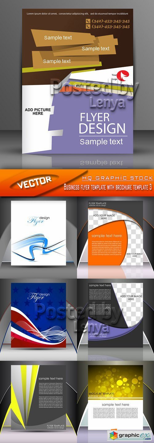 Stock Vector - Business flyer template with brochure template 3
