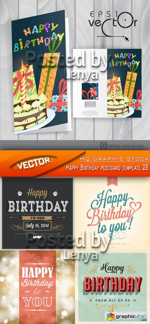 Stock Vector - Happy Birthday postcard template 28