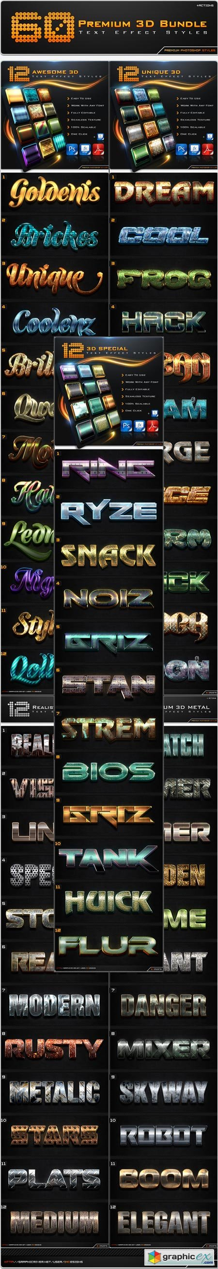 60 Premium 3D Text Effect Styles Bundle 8613130