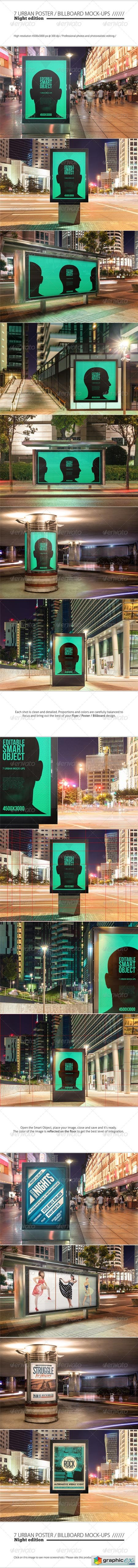 Urban Poster Billboard Mock-ups - Night Edition 8696238