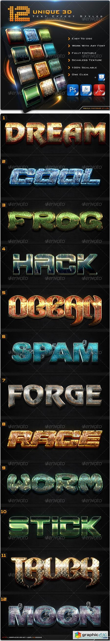 12 Unique 3D TextEffect Styles + Actions 8589946