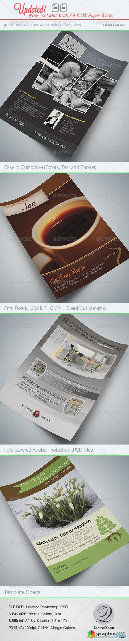 Full Page Magazine Ad or Flyer Templates 76133