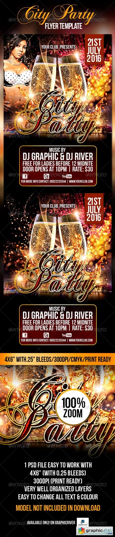 City Party Flyer Template 4344423