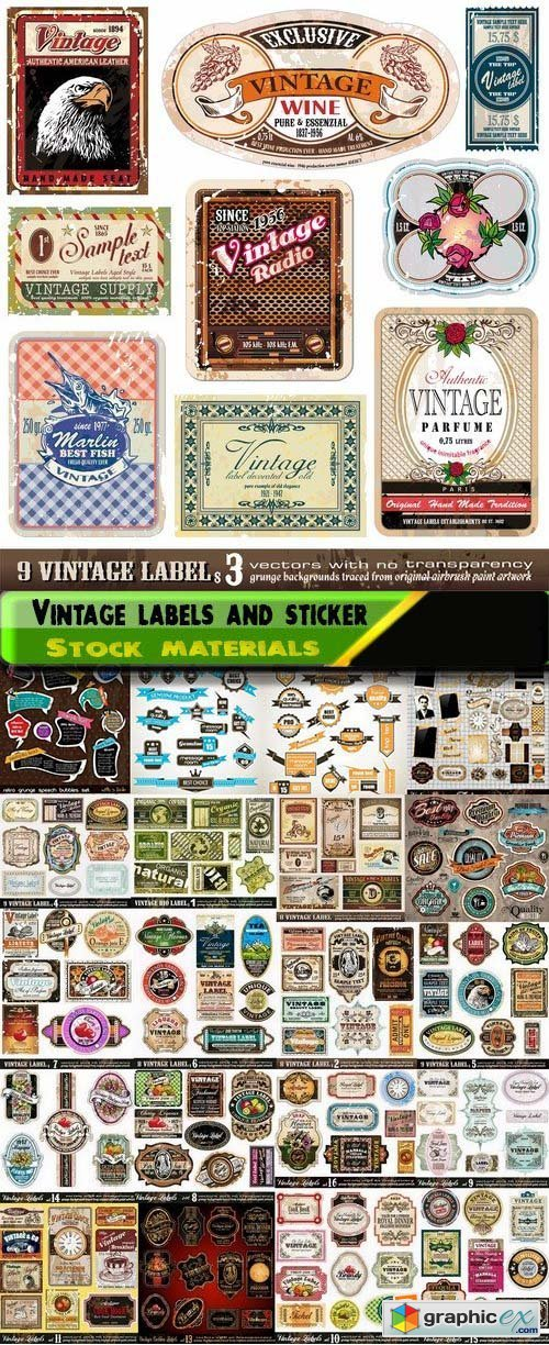 Vintage labels and stickers template design 25xEPS