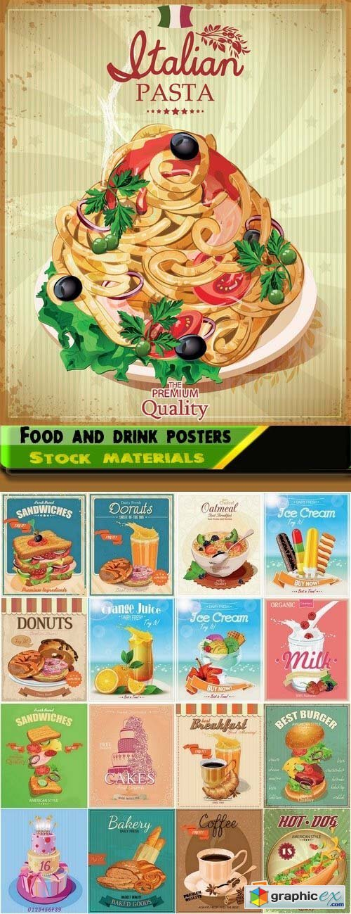 Retro posters with food and drink vector elements 25xEPS