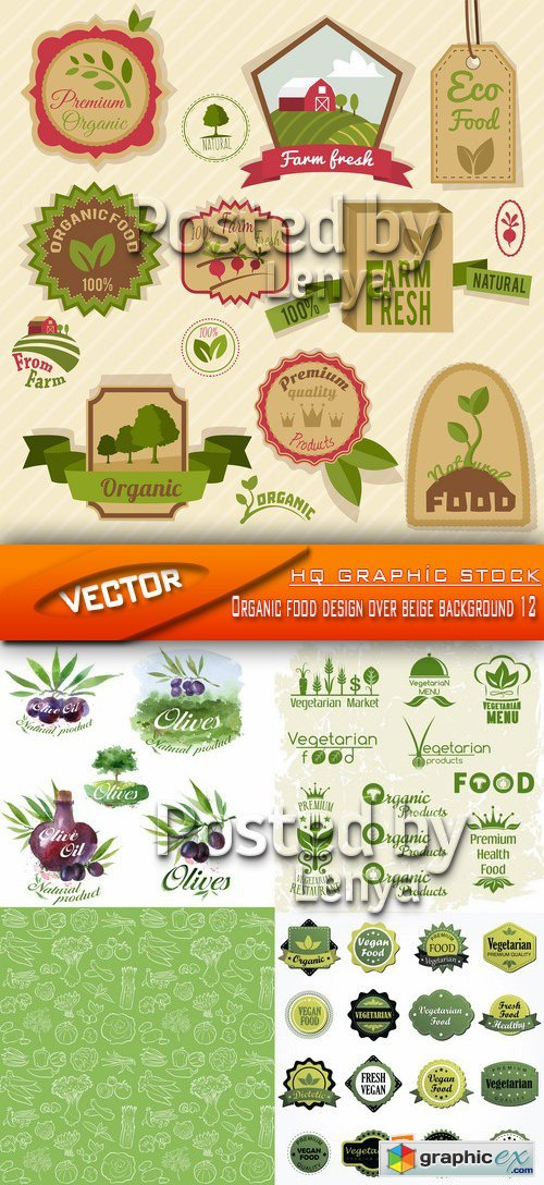 Stock Vector - Organic food design over beige background 12