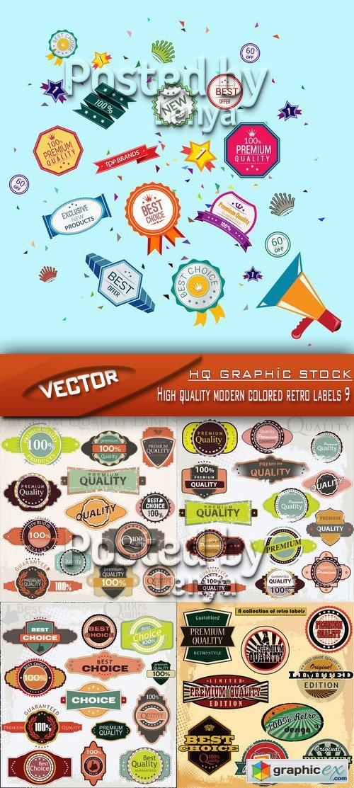 Stock Vector - High quality modern colored retro labels 9