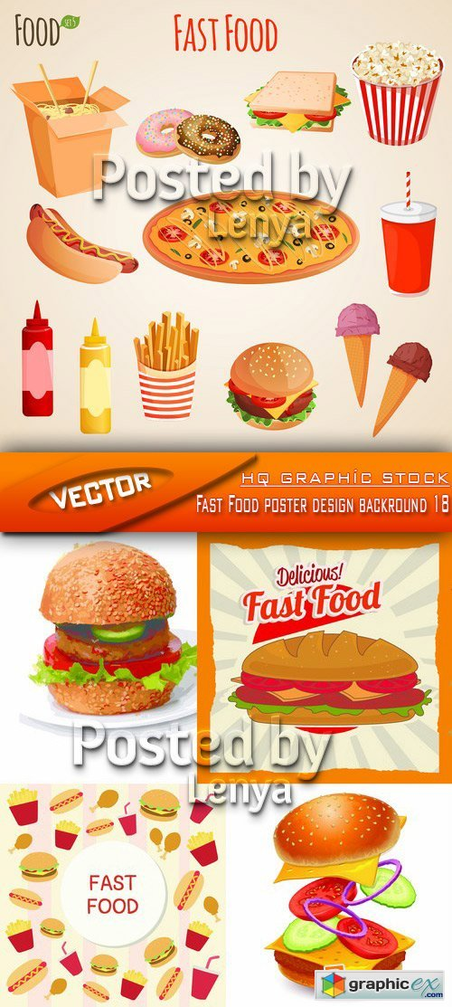 Stock Vector - Fast Food poster design backround 18