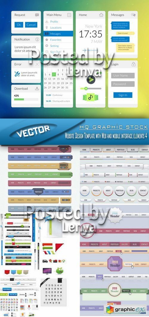 Stock Vector - Website Design Template with Web and mobile interface elements 4