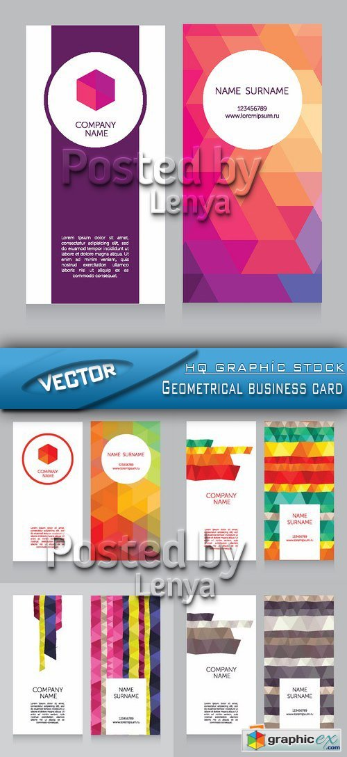 Stock Vector - Geometrical business card