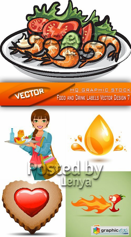 Stock Vector - Food and Drink Labels Vector Design 7