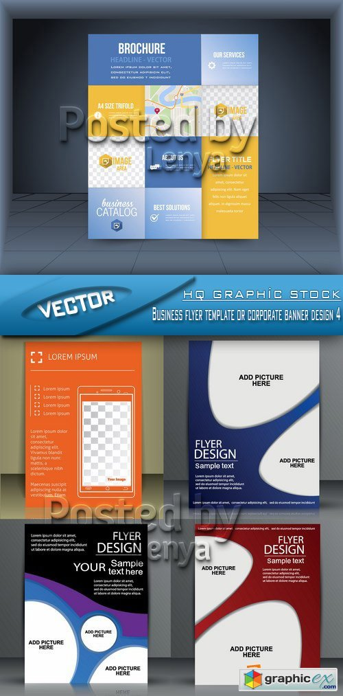 Stock Vector - Business flyer template or corporate banner design 4