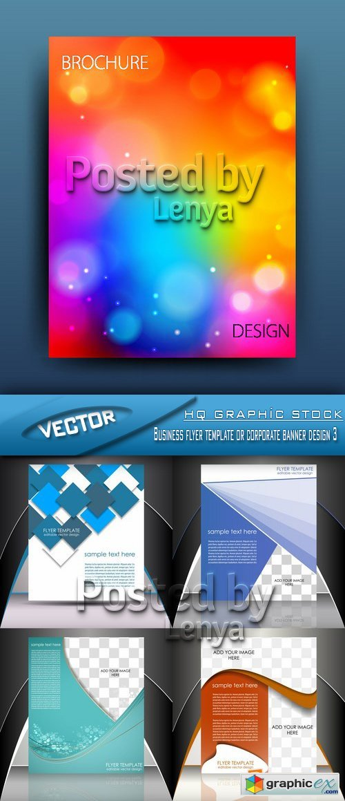 Stock Vector - Business flyer template or corporate banner design 3