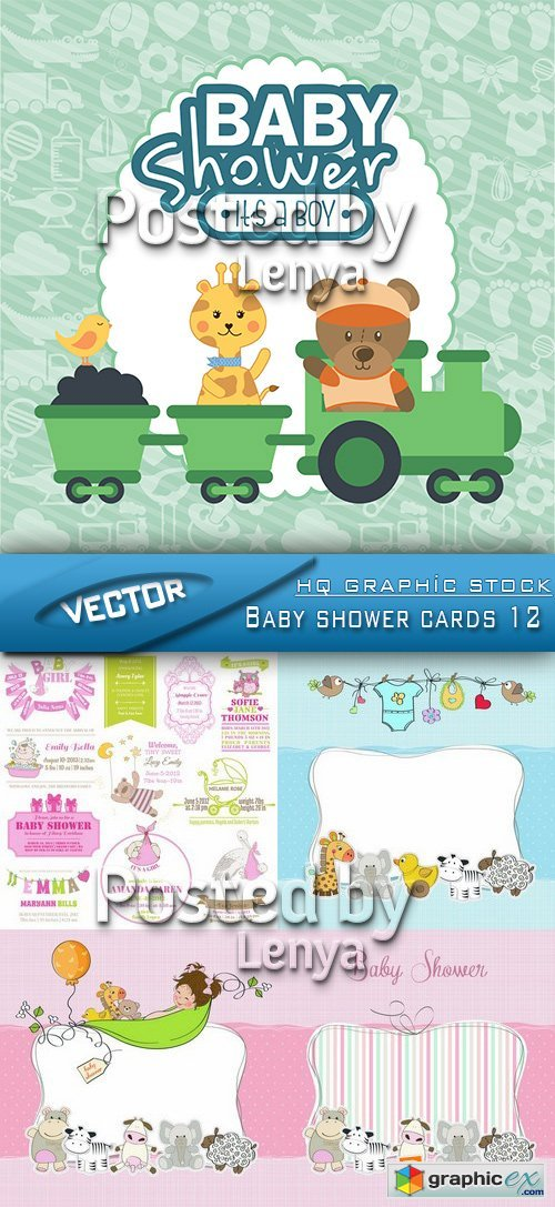 Stock Vector - Baby shower cards 12