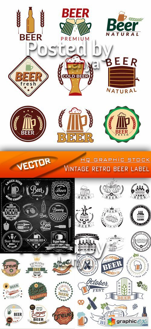 Stock Vector - Vintage retro beer label