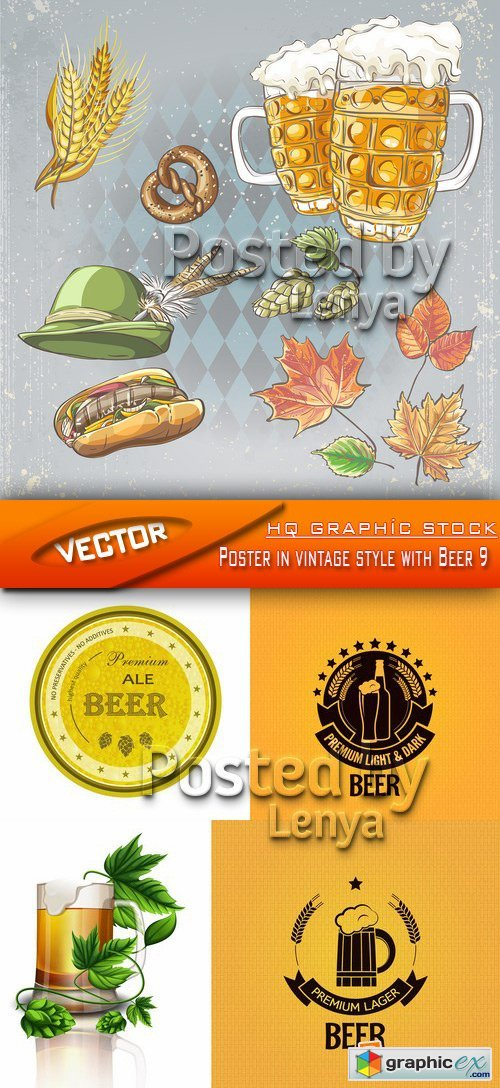 Stock Vector - Poster in vintage style with Beer 9