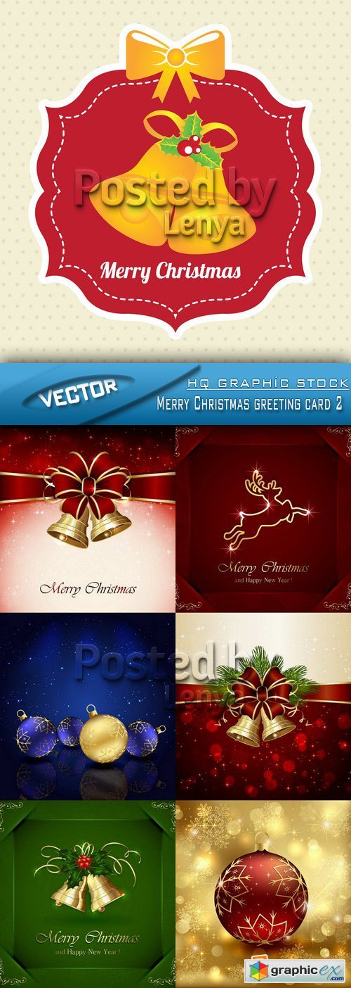 Stock Vector - Merry Christmas greeting card 2