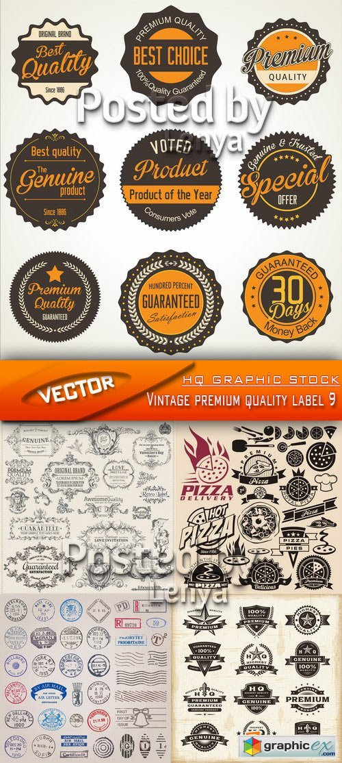 Stock Vector - Vintage premium quality label 9