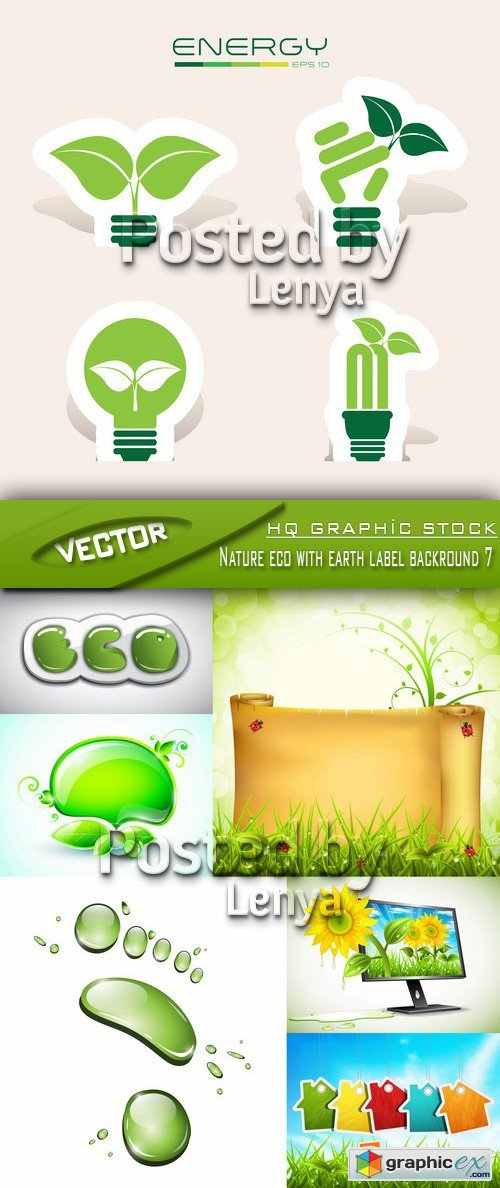 Stock Vector - Nature eco with earth label backround 7