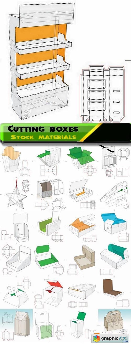 Template for cutting boxes 4 25xEPS